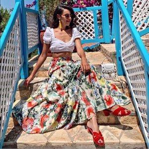 Zara Floral Print Ruffle Maxi Skirt
